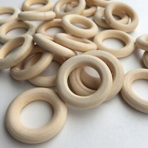 20X Round Unfinished Macrame Wood Ring Bead 30mm Donut Shape Donut DIY Craft