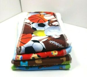 Handmade Cloth Covered Diapers Different Colored Animals and Sports set of 4