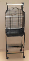 New Open Play Top Small Parrot Cockatiel  Bird Cage W/Stand Black 1718_T808-113