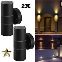 2x Black Stainless Steel Up Down Wall Light GU10 IP44 Double Indoor Outdoor LED