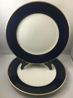 """2 Royal Castle #210 Cobalt Blue Gold Ivory China 10 3/4"""" Dinner Plates Japan"""