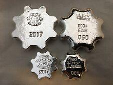 """1oz & 4oz Hand Poured 999 Silver Bullion Gear Bar """"Silver Slacker 2017"""" by YPS"""