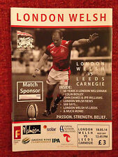 London Welsh v Leeds Carnegie - Rugby Programme - May 18th 2014 at Kassam Oxford