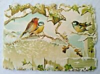 1902 Victorian Christmas Poem Embossed Greeting Card Booklet Birds Antique GK
