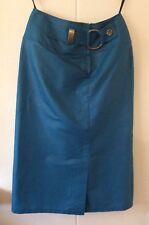 WALTER KRISTENSEN 1980's Vintage Turquoise Straight Skirt Buckle Front Size S