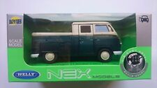 WELLY VW VOLKSWAGEN T1 DOUBLE CABIN PICK UP BLUE 1:34 DIE CAST METAL MODEL