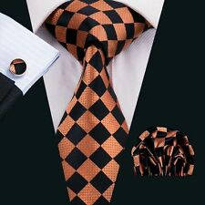 SN-1563 Classic Plaids&Checks  Mens Tie Silk Necktie Hanky Cufflinks Business