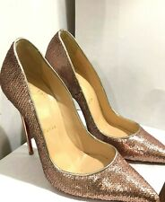 Christian Louboutin Rose Gold Sequence Pumps - Size 36