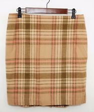 New TALBOTS Women's 10 - PINK & BROWN PLAID WOOL STRAIGHT SKIRT - Knee Length