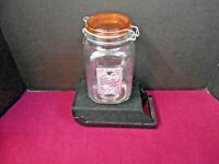 """CANISTER CLEAR GLASS WITH AMBER LID 7 3/4"""" TALL WITH METAL ROOSTER DECAL"""