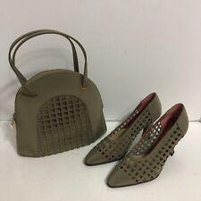 Charles Jourdan Kitten Heel Net Shoes w/ Matching Purse Crepchine Ecorce Sz 5 M