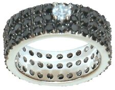 ISBN-RG-RGLO-M-CZ  Black CZ and White CZ On Silver Ring  Reduced to £32.00