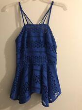 NWT H&M Cutout Blue Peplum Blouse Top Size 2