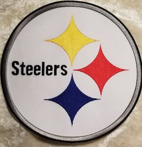 """Pittsburgh Steelers HUGE 8"""" Iron/Sew On Jacket Size Embroidered Patch"""