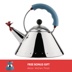 ALESSI | New Graves Kettle in Blue with Bird Whistle 9093 FREE BONUS GIFT