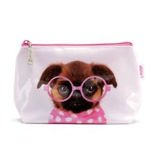 Catseye of London Make Up Cosmetic Bag 'Glasses Pooch' Brussels Griffon Dog pink