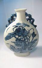 Chino Azul Y Blanco Porcelana trabajo Hecho A Mano Pintura Flores De Loto Y Dos Cisnes