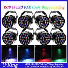 8X 18LED RGB 36W PAR CAN Light DMX512 Uplighting Disco DJ Party Stage Lighting
