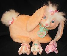 1992 Hasbro Bunny Surprise 8803 Peach Mama Rabbit 3 Babies 9243 Easter Basket