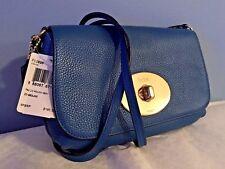 Coach LIV Shoulder / Crossbody Pouch Bag in Denim Blue Pebbled Leather F52896