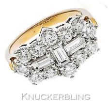 18 Carat Yellow Gold Cluster Engagement Fine Diamond Rings