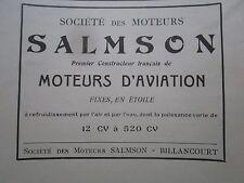 1928 PUB SOCIETE MOTEURS SALMSON MOTEUR AVIATION AERO ENGINE ORIGINAL FRENCH AD