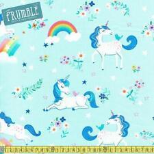 Robert Kaufman Fabric Happy Little Unicorns Blue HALF METRE