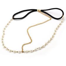 1X Elegant Pearl Forehead Velvet Bow Knot Head Chain Headband Piece Hair Jewelry