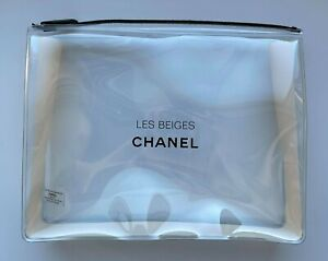 CHANEL COSMETIC/MAKEUP BAG POUCH CLUTCH CLEAR BEIGE LES BEIGES VIP GIFT