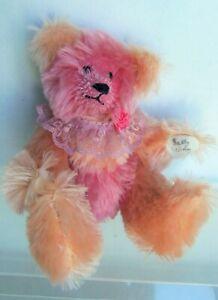 "OOAK Sally Winey 9"" Mohair, Sherbet Color Orange & Raspberry Bear"