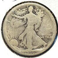 1916-D 50C Walking Liberty Half Dollar, SEMI-KEY DATE! (59022)