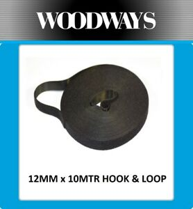 12mm Hook and Loop roll Double Sided Heavy Duty Black 10 mtr