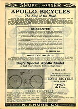1929 PAPER AD 2 PG Apollo Bicycle Bike A900 A400 A100 Models