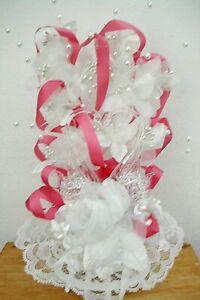 "Beautiful BLOWN GLASS SWAN Cake Topper Pearls, Lace & Pink Ribbon 10"" High EUC"
