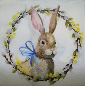 4 x Single Paper Napkins for Decoupage Craft Table Bunny Easter 165