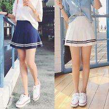 Women Tennis High Waist Plain Skater Flared Pleated Short Summer A Mini Skirt AU
