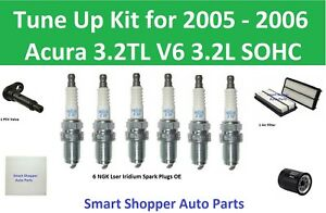 Tune Up for 2005 2006 Acura 3.2TL V6 PCV Valve Air Oil Cabin Air Filter Spark Pl