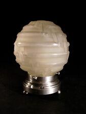 A.HUNEBELLE: LAMPE VEILLEUSE ART DECO LABYRINTHE GLOBE EN VERRE PRESSÉ 1930