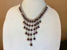 $65 Lucky Brand Silver Tone Red Jade Bib Necklace L 12