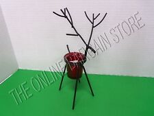 Christmas Holiday Black Metal Reindeer Votive Candle Holder Red Glass Small