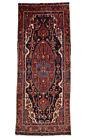 Vintage Tribal Oriental Nahavand Rug, 4'x11', Black/Red, Hand-Knotted Wool Pile