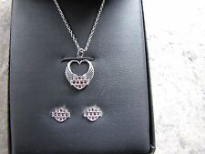 Harley-Davidson Womens Winged Heart Necklace & Earrings Gift Set, Purple HDS0003