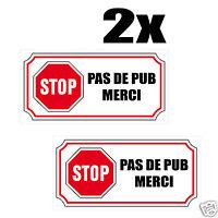 2x Sticker Autocollant STOP PAS DE PUB MERCI boite aux lettres