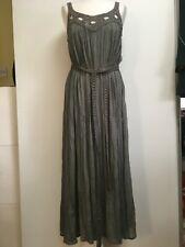 NWT French Connection khaki grey sleeveless maxi dress pleated crochet neck 12