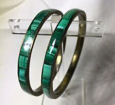 Vintage Malachite Brass Bangles Hand Made Inlay Green Stone Set of 2