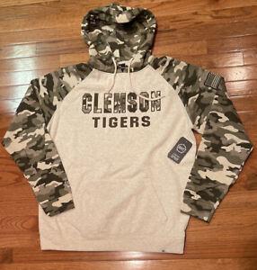 Mens Clemson Tigers Colosseum Salute Service Desert Camo Raglan Hoodie NWT Large