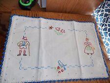 Blue Bird Table Runner Peasant People Hand Embroidered Vintage Handmade