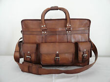 "LARGE 22"" Real Leather Travel Duffle Bag Luggage Holdall Briefcase Messenger Bag"