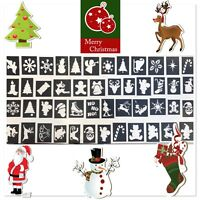 48 x Christmas stencils assorted-3 part midi 4-7cms glitter tattoos facepainting