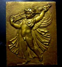 XRARE / LARGE ANTIQUE BRONZE PLAQUE A NAKED ANGELOT CARRYING A GLAIVE / N121
